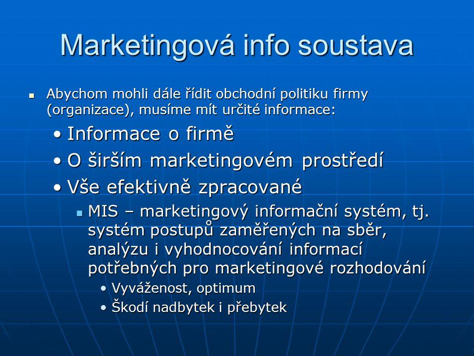 Marketingová info soustava Abychom mohli dále řídit obchodní politiku firmy (organizace), musíme mít určité informace: Abychom mohli dále řídit obchodní politiku firmy (organizace), musíme mít určité informace: Informace o firměInformace o firmě O širším marketingovém prostředíO širším marketingovém prostředí Vše efektivně zpracovanéVše efektivně zpracované MIS – marketingový informační systém, tj.