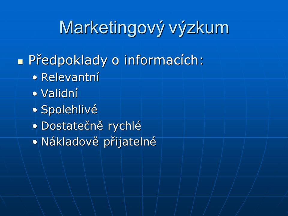 Marketingový výzkum Předpoklady o informacích: Předpoklady o informacích: RelevantníRelevantní ValidníValidní SpolehlivéSpolehlivé Dostatečně rychléDostatečně rychlé Nákladově přijatelnéNákladově přijatelné