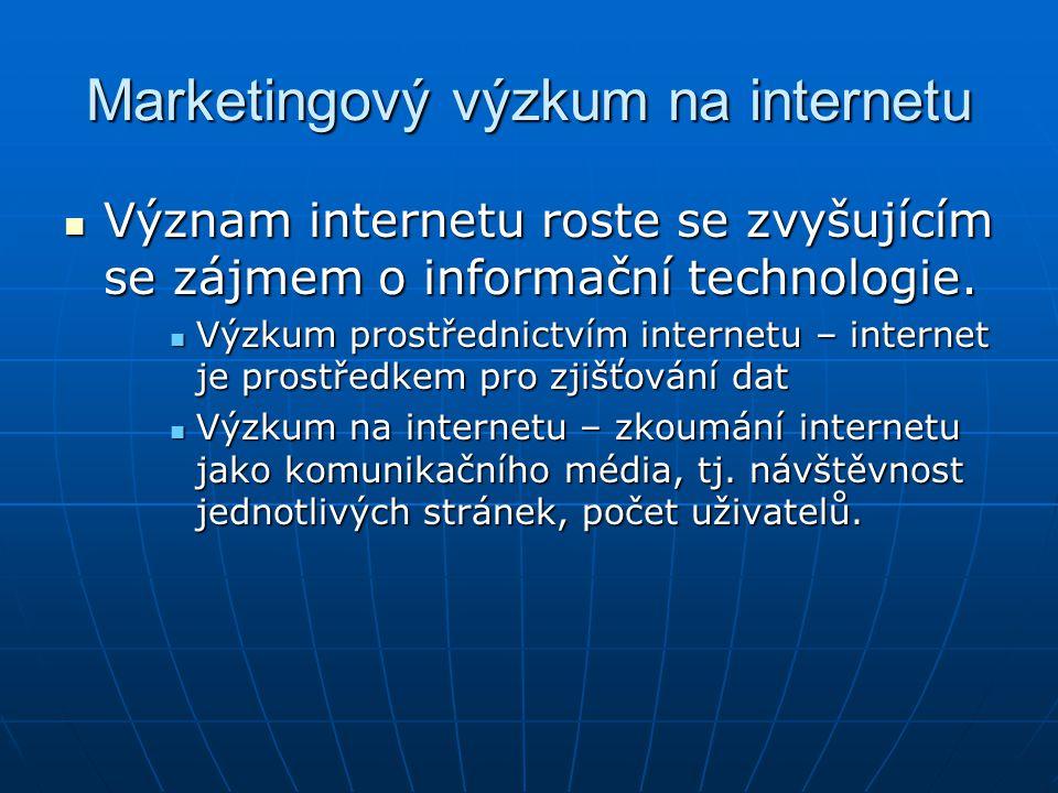 Marketingový výzkum na internetu Význam internetu roste se zvyšujícím se zájmem o informační technologie.