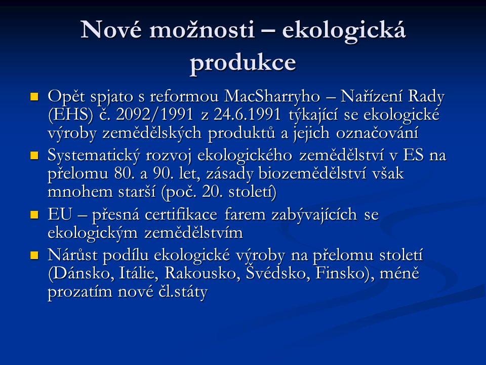 Nové možnosti – ekologická produkce Opět spjato s reformou MacSharryho – Nařízení Rady (EHS) č. 2092/1991 z 24.6.1991 týkající se ekologické výroby ze