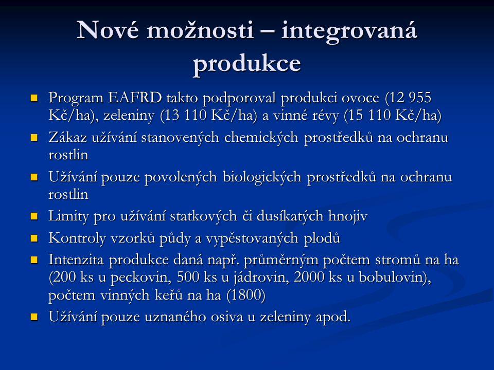 Nové možnosti – integrovaná produkce Program EAFRD takto podporoval produkci ovoce (12 955 Kč/ha), zeleniny (13 110 Kč/ha) a vinné révy (15 110 Kč/ha)