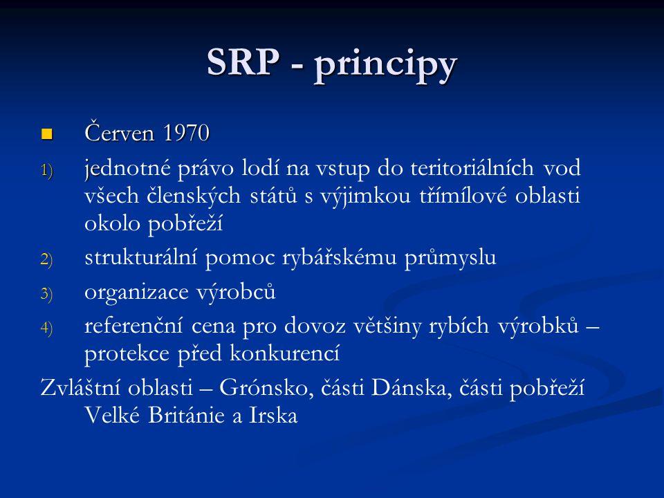 SRP - principy Červen 1970 Červen 1970 1) je 1) jednotné právo lodí na vstup do teritoriálních vod všech členských států s výjimkou třímílové oblasti