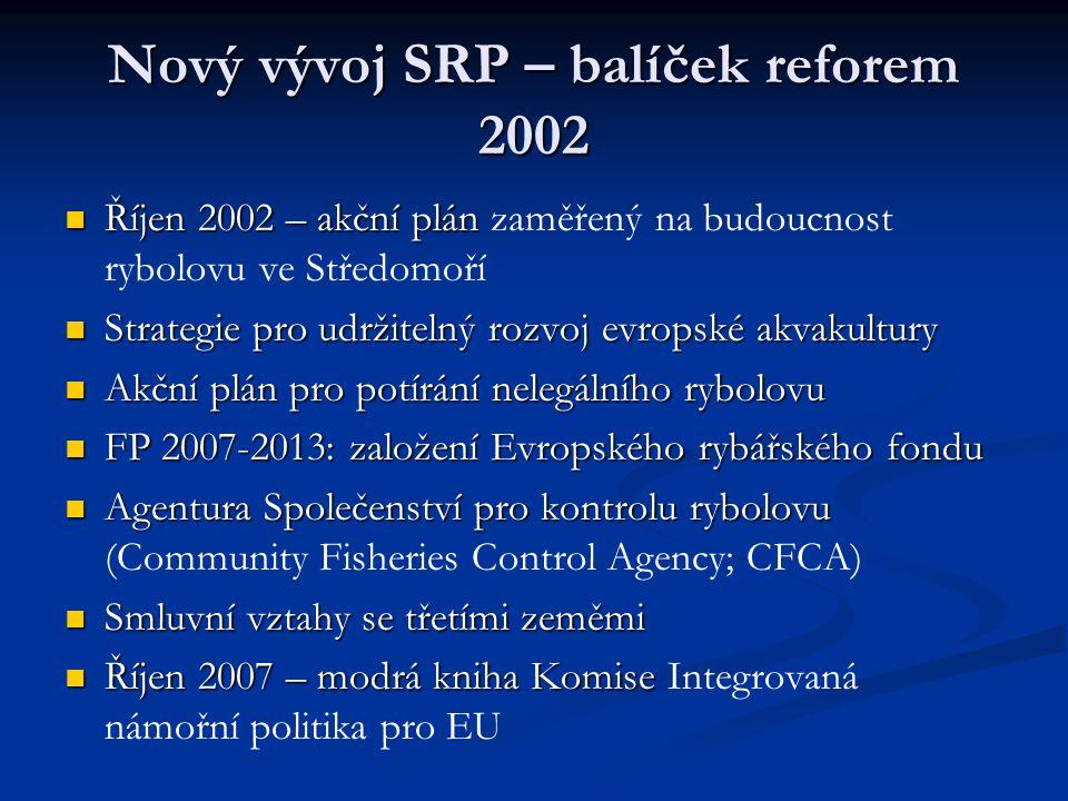 Nový vývoj SRP – balíček reforem 2002 Říjen 2002 – akční plán Říjen 2002 – akční plán zaměřený na budoucnost rybolovu ve Středomoří Strategie pro udržitelný rozvoj evropské akvakultury Strategie pro udržitelný rozvoj evropské akvakultury Akční plán pro potírání nelegálního rybolovu Akční plán pro potírání nelegálního rybolovu FP 2007-2013: založení Evropského rybářského fondu FP 2007-2013: založení Evropského rybářského fondu Agentura Společenství pro kontrolu rybolovu Agentura Společenství pro kontrolu rybolovu (Community Fisheries Control Agency; CFCA) Smluvní vztahy se třetími zeměmi Smluvní vztahy se třetími zeměmi Říjen 2007 – modrá kniha Komise Říjen 2007 – modrá kniha Komise Integrovaná námořní politika pro EU