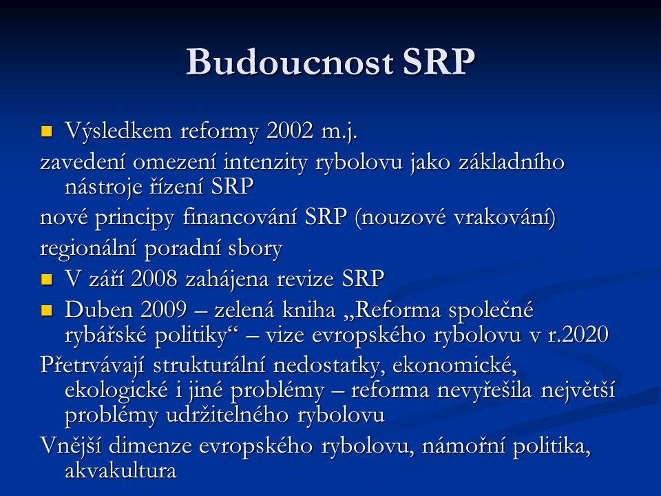 Budoucnost SRP Výsledkem reformy 2002 m.j. Výsledkem reformy 2002 m.j. zavedení omezení intenzity rybolovu jako základního nástroje řízení SRP nové pr