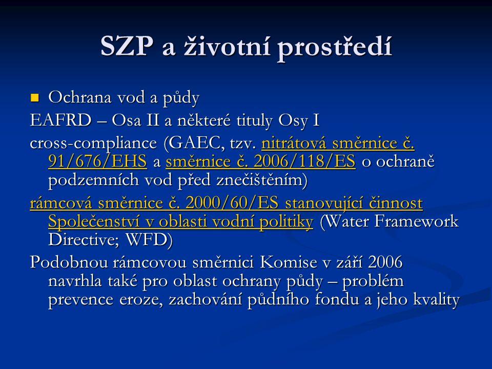 SZP a životní prostředí Ochrana vod a půdy Ochrana vod a půdy EAFRD – Osa II a některé tituly Osy I cross-compliance (GAEC, tzv. nitrátová směrnice č.