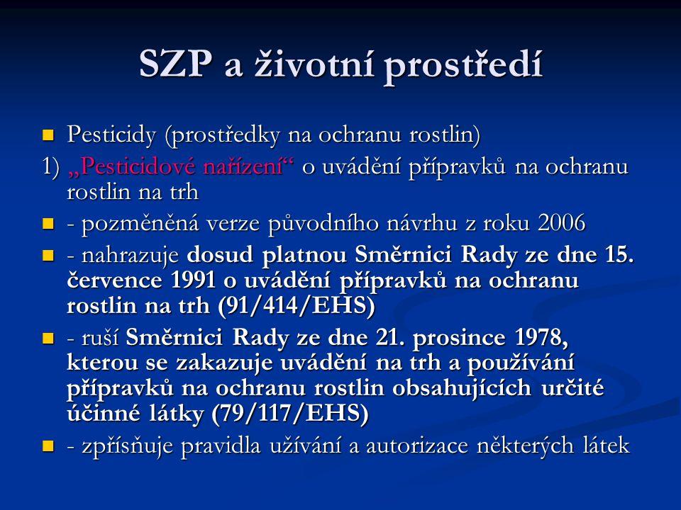 """SZP a životní prostředí Pesticidy (prostředky na ochranu rostlin) Pesticidy (prostředky na ochranu rostlin) 1) """"Pesticidové nařízení o uvádění přípravků na ochranu rostlin na trh - pozměněná verze původního návrhu z roku 2006 - pozměněná verze původního návrhu z roku 2006 - nahrazuje dosud platnou Směrnici Rady ze dne 15."""