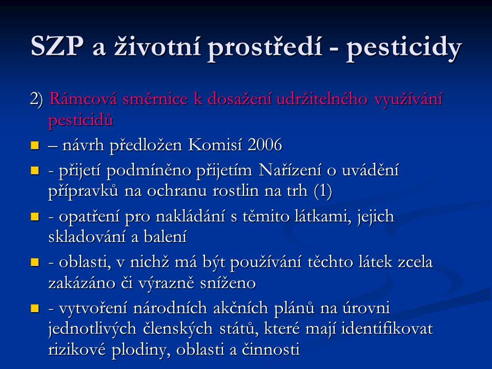SZP a životní prostředí - pesticidy 2) Rámcová směrnice k dosažení udržitelného využívání pesticidů – návrh předložen Komisí 2006 – návrh předložen Komisí 2006 - přijetí podmíněno přijetím Nařízení o uvádění přípravků na ochranu rostlin na trh (1) - přijetí podmíněno přijetím Nařízení o uvádění přípravků na ochranu rostlin na trh (1) - opatření pro nakládání s těmito látkami, jejich skladování a balení - opatření pro nakládání s těmito látkami, jejich skladování a balení - oblasti, v nichž má být používání těchto látek zcela zakázáno či výrazně sníženo - oblasti, v nichž má být používání těchto látek zcela zakázáno či výrazně sníženo - vytvoření národních akčních plánů na úrovni jednotlivých členských států, které mají identifikovat rizikové plodiny, oblasti a činnosti - vytvoření národních akčních plánů na úrovni jednotlivých členských států, které mají identifikovat rizikové plodiny, oblasti a činnosti