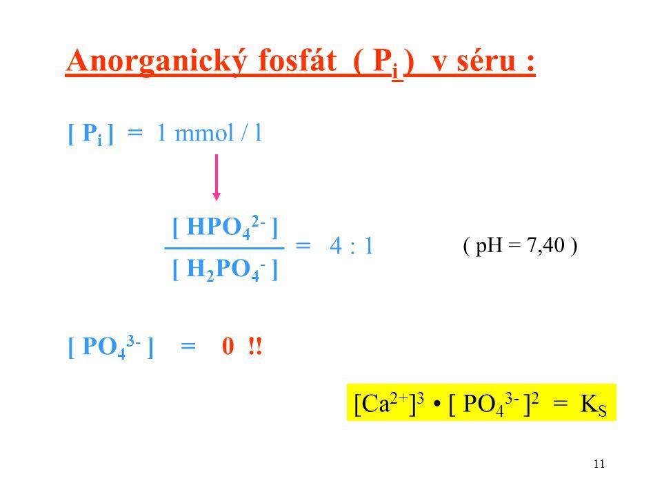 11 [Ca 2+ ] 3 [ PO 4 3- ] 2 = K S ( pH = 7,40 ) [ PO 4 3- ] = 0 !! [ P i ] = 1 mmol / l Anorganický fosfát ( P i ) v séru : [ HPO 4 2- ] [ H 2 PO 4 -