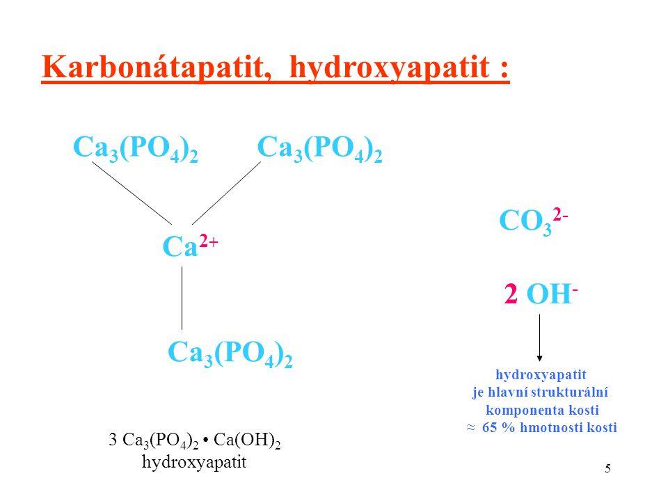 5 Karbonátapatit, hydroxyapatit : Ca 2 + Ca 3 (PO 4 ) 2 CO 3 2- 2 OH - hydroxyapatit je hlavní strukturální komponenta kosti ≈ 65 % hmotnosti kosti 3