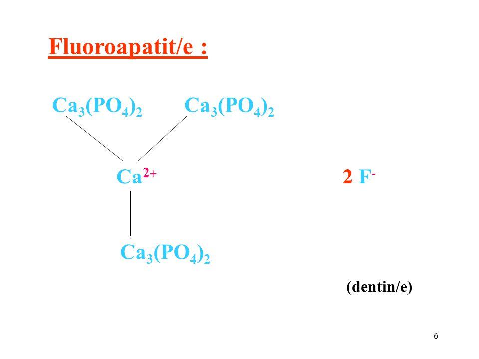 6 Fluoroapatit/e : Ca 2 + Ca 3 (PO 4 ) 2 2 F - (dentin/e)