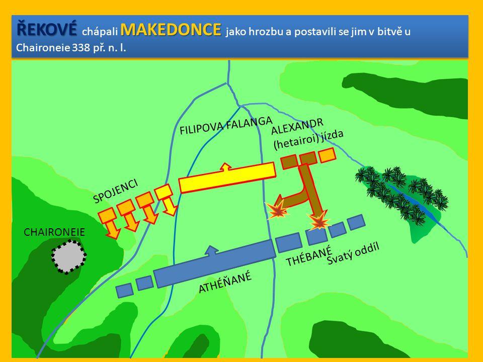 ŘEKOVÉ MAKEDONCE ŘEKOVÉ chápali MAKEDONCE jako hrozbu a postavili se jim v bitvě u Chaironeie 338 př. n. l. ATHÉŇANÉ THÉBANÉ FILIPOVA FALANGA SPOJENCI