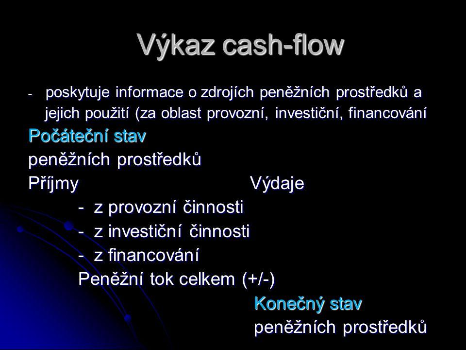 Výkaz cash-flow - poskytuje informace o zdrojích peněžních prostředků a jejich použití (za oblast provozní, investiční, financování jejich použití (za oblast provozní, investiční, financování Počáteční stav peněžních prostředků Příjmy Výdaje - z provozní činnosti - z provozní činnosti - z investiční činnosti - z investiční činnosti - z financování - z financování Peněžní tok celkem (+/-) Peněžní tok celkem (+/-) Konečný stav Konečný stav peněžních prostředků peněžních prostředků