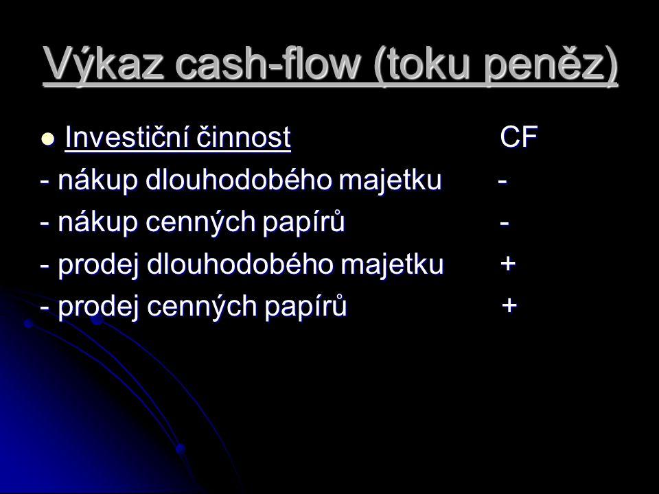 Výkaz cash-flow (toku peněz) Investiční činnost CF Investiční činnost CF - nákup dlouhodobého majetku - - nákup cenných papírů - - prodej dlouhodobého majetku + - prodej cenných papírů +