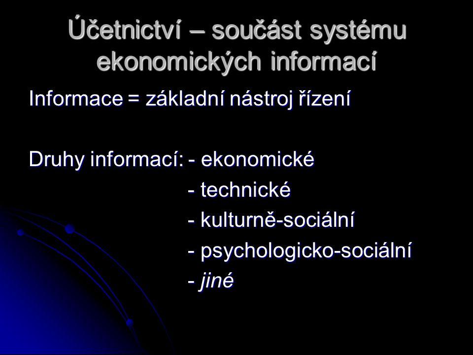 Účetnictví – součást systému ekonomických informací Informace = základní nástroj řízení Druhy informací: - ekonomické - technické - technické - kulturně-sociální - kulturně-sociální - psychologicko-sociální - psychologicko-sociální - jiné - jiné