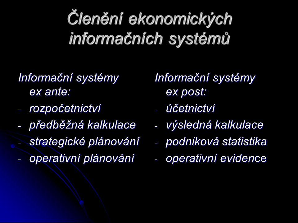 Členění ekonomických informačních systémů Informační systémy ex ante: - rozpočetnictví - předběžná kalkulace - strategické plánování - operativní plánování Informační systémy ex post: - účetnictví - výsledná kalkulace - podniková statistika - operativní evidence