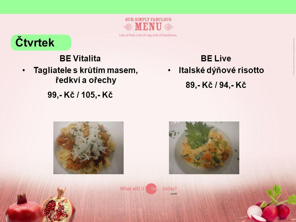 BE Grill Marinovaná vepřová panenka, chřest, šťouchané brambory s jarní cibulkou 125,- Kč / 131,- Kč Čtvrtek