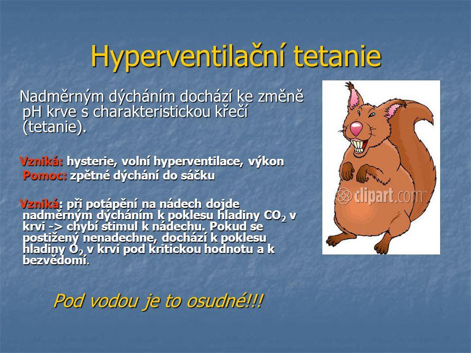 Hyperventilační tetanie Nadměrným dýcháním dochází ke změně pH krve s charakteristickou křečí (tetanie). Nadměrným dýcháním dochází ke změně pH krve s