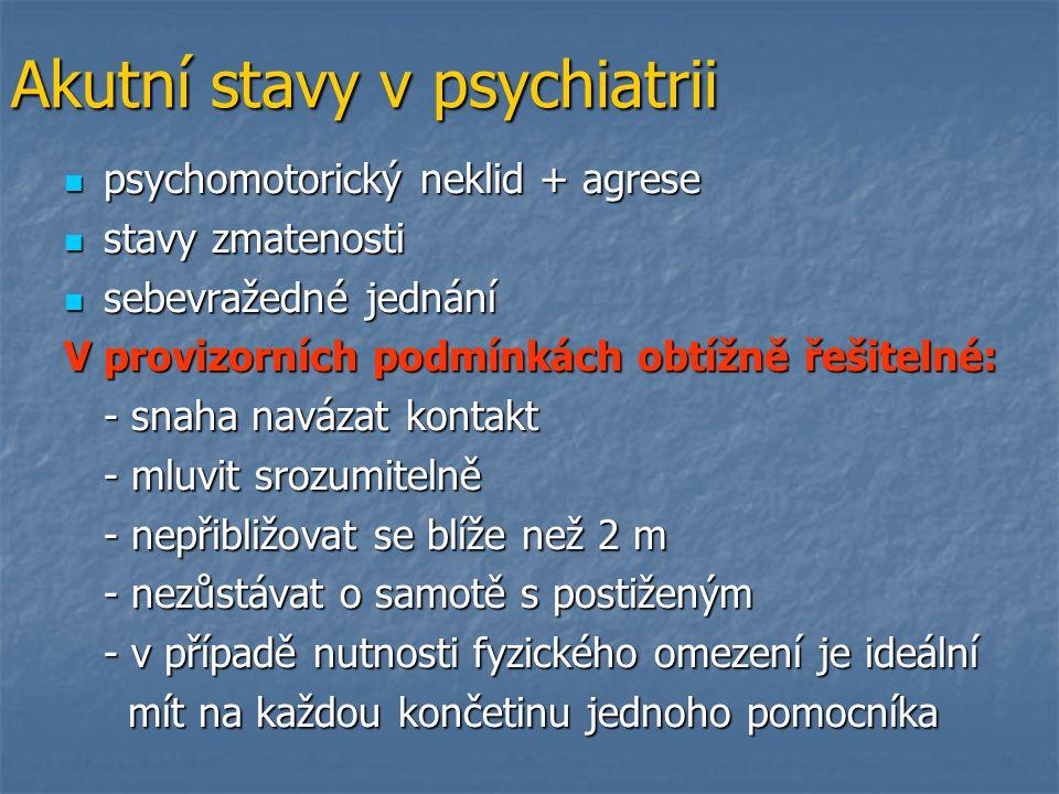 Akutní stavy v psychiatrii psychomotorický neklid + agrese psychomotorický neklid + agrese stavy zmatenosti stavy zmatenosti sebevražedné jednání sebe