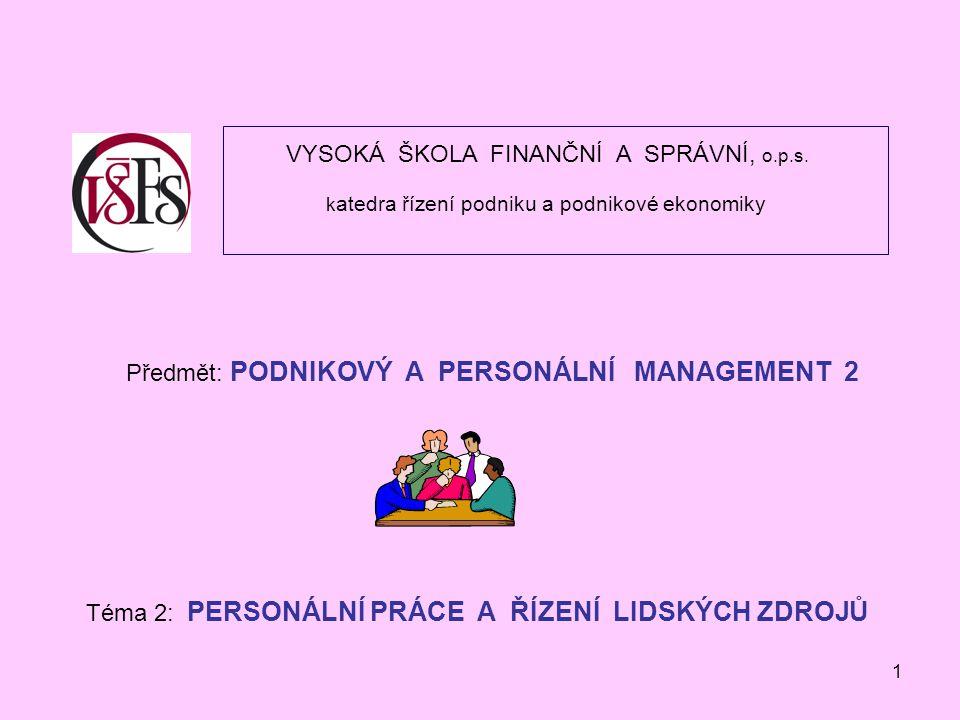 1 VYSOKÁ ŠKOLA FINANČNÍ A SPRÁVNÍ, o.p.s. k atedra řízení podniku a podnikové ekonomiky Předmět: PODNIKOVÝ A PERSONÁLNÍ MANAGEMENT 2 Téma 2: PERSONÁLN