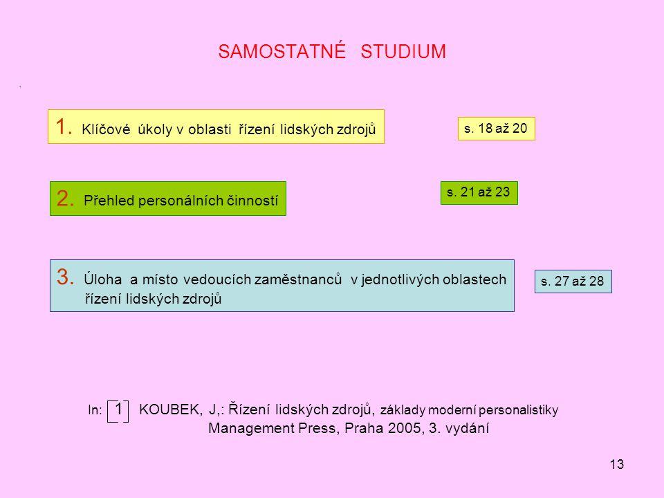 13 SAMOSTATNÉ STUDIUM 1 1.Klíčové úkoly v oblasti řízení lidských zdrojů 2.