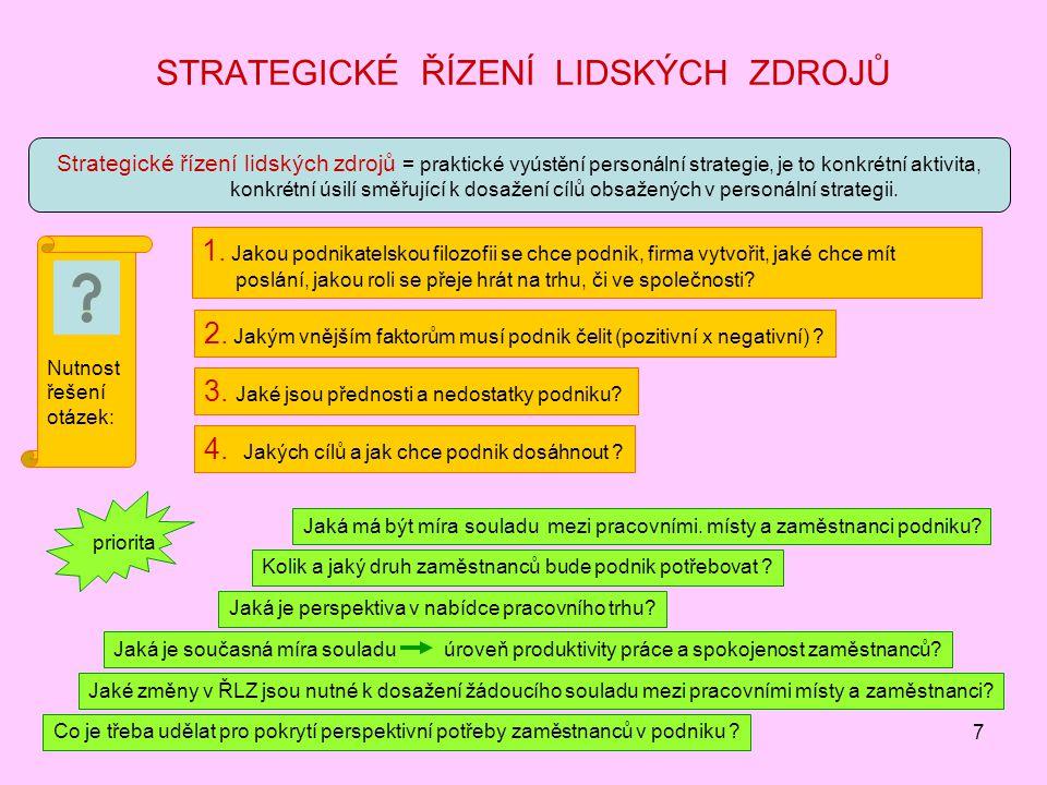 7 STRATEGICKÉ ŘÍZENÍ LIDSKÝCH ZDROJŮ Strategické řízení lidských zdrojů = praktické vyústění personální strategie, je to konkrétní aktivita, konkrétní