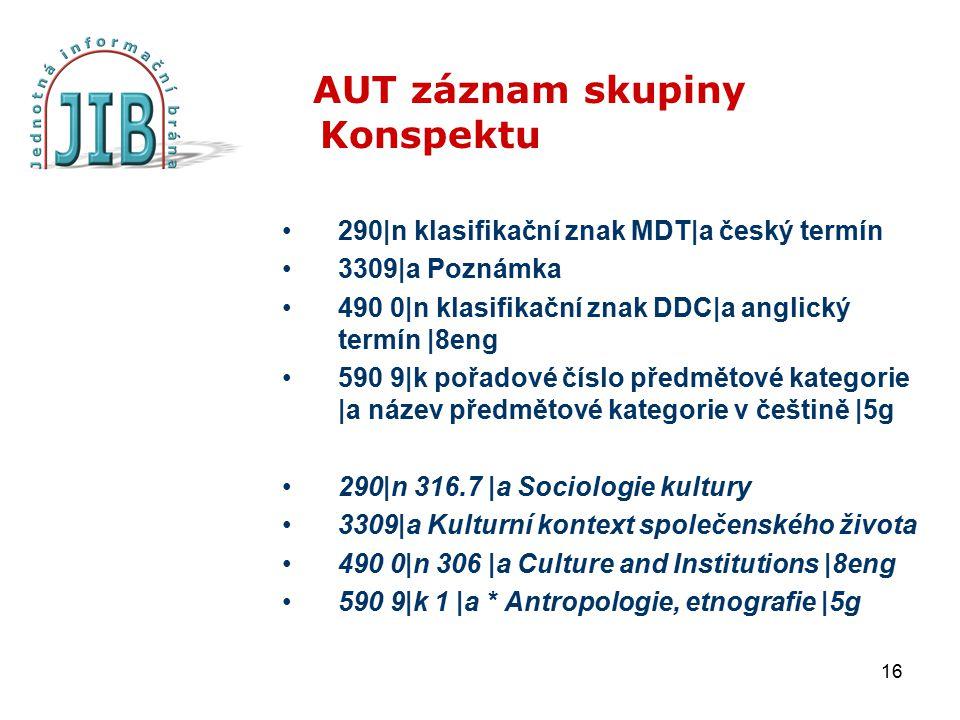 16 AUT záznam skupiny Konspektu 290|n klasifikační znak MDT|a český termín 3309|a Poznámka 490 0|n klasifikační znak DDC|a anglický termín |8eng 590 9