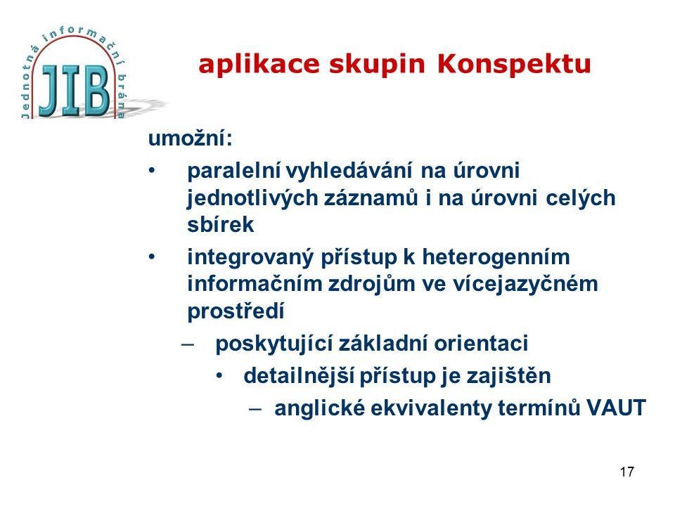 17 aplikace skupin Konspektu umožní: paralelní vyhledávání na úrovni jednotlivých záznamů i na úrovni celých sbírek integrovaný přístup k heterogenním