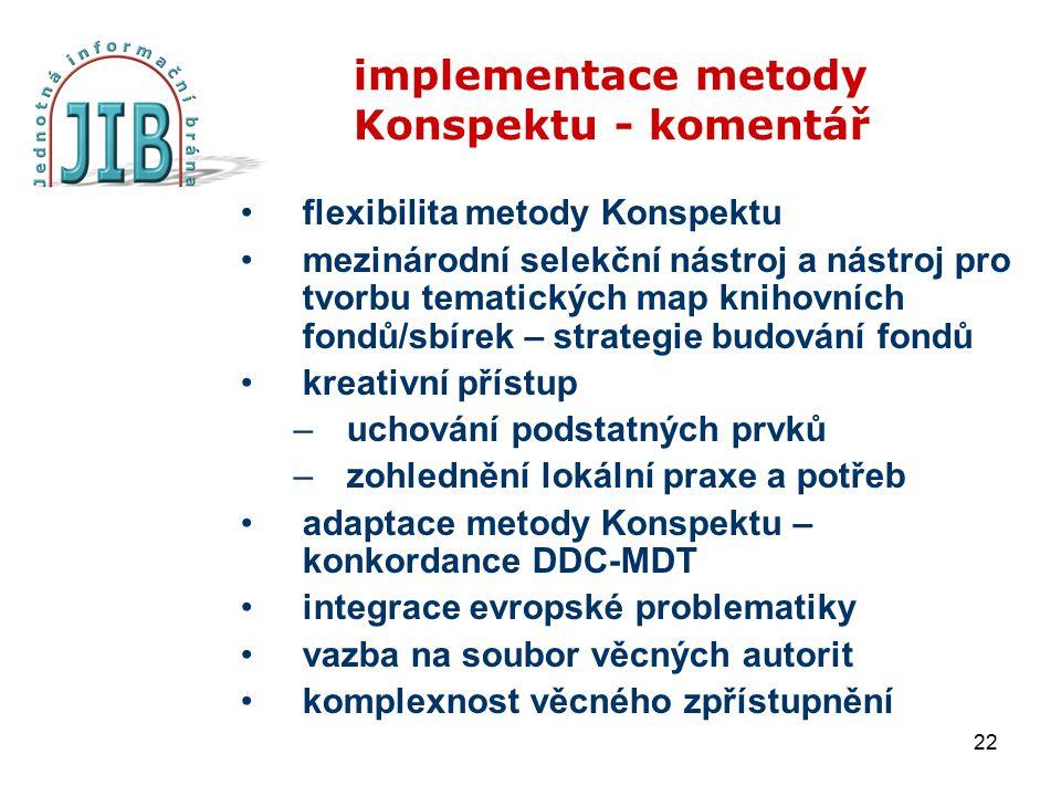 22 implementace metody Konspektu - komentář flexibilita metody Konspektu mezinárodní selekční nástroj a nástroj pro tvorbu tematických map knihovních