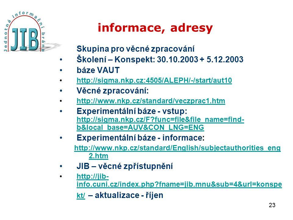 23 informace, adresy Skupina pro věcné zpracování Školení – Konspekt: 30.10.2003 + 5.12.2003 báze VAUT http://sigma.nkp.cz:4505/ALEPH/-/start/aut10 Vě