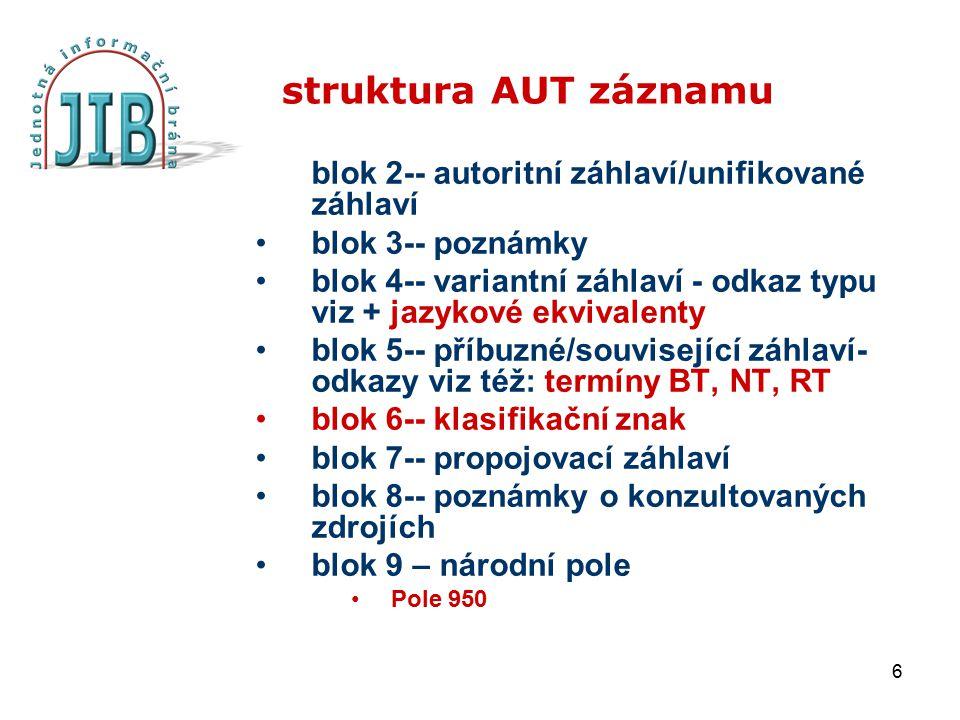 6 struktura AUT záznamu blok 2-- autoritní záhlaví/unifikované záhlaví blok 3-- poznámky blok 4-- variantní záhlaví - odkaz typu viz + jazykové ekviva