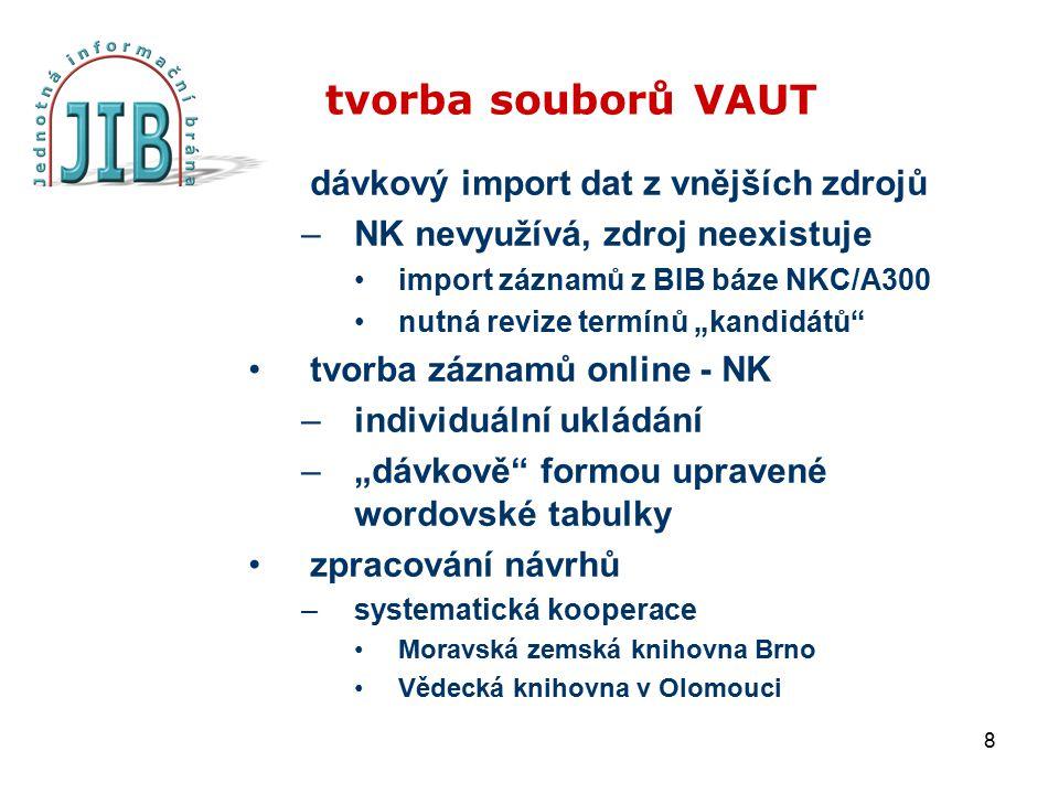 """8 tvorba souborů VAUT dávkový import dat z vnějších zdrojů –NK nevyužívá, zdroj neexistuje import záznamů z BIB báze NKC/A300 nutná revize termínů """"ka"""