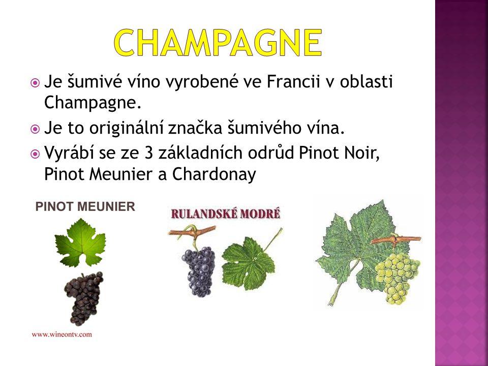  Je šumivé víno vyrobené ve Francii v oblasti Champagne.