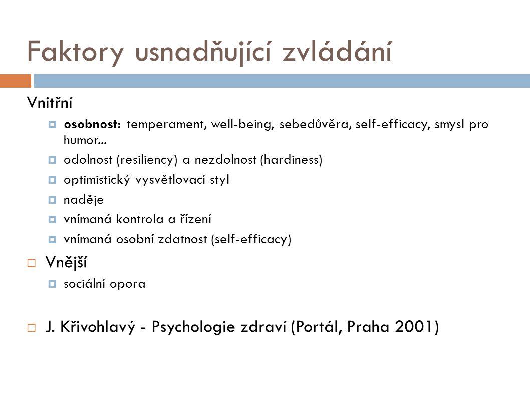 Faktory usnadňující zvládání Vnitřní  osobnost: temperament, well-being, sebedůvěra, self-efficacy, smysl pro humor...  odolnost (resiliency) a nezd