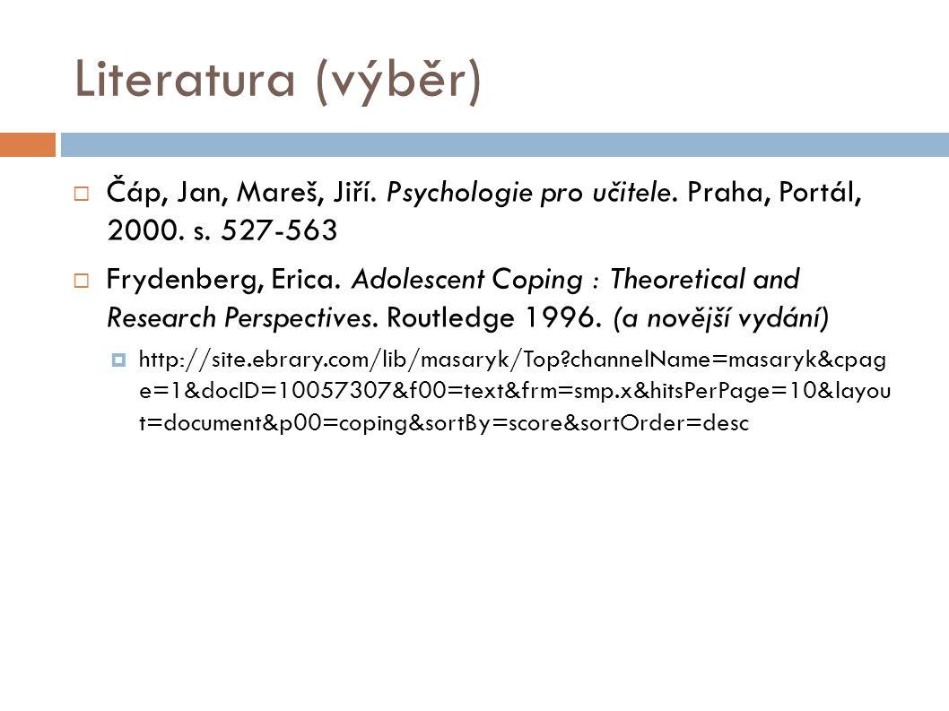 Literatura (výběr)  Čáp, Jan, Mareš, Jiří. Psychologie pro učitele. Praha, Portál, 2000. s. 527-563  Frydenberg, Erica. Adolescent Coping : Theoreti