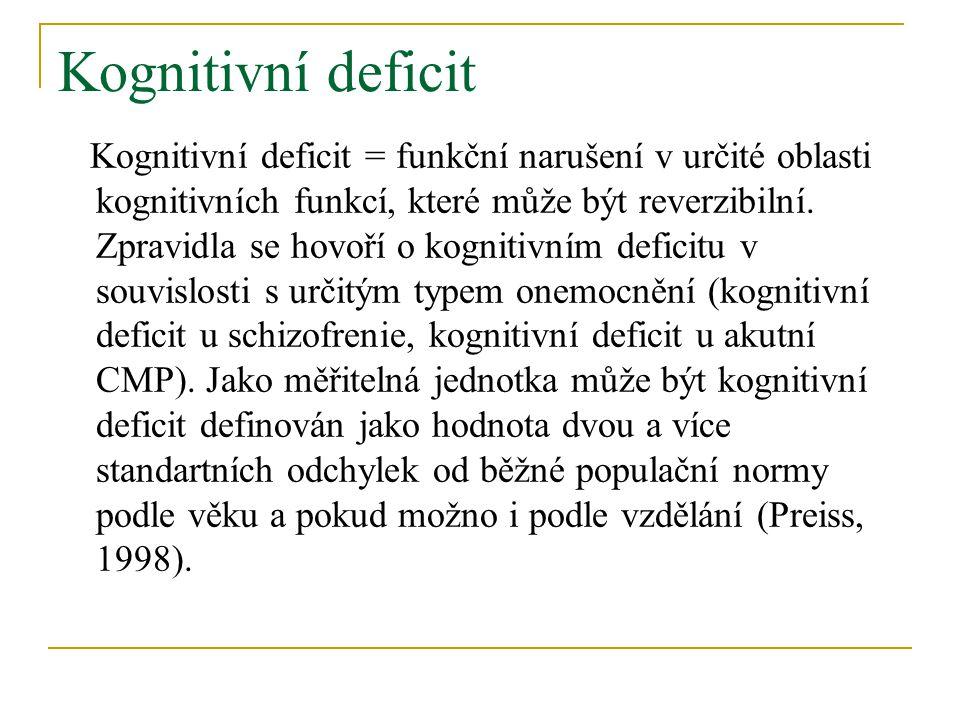 Kognitivní deficit Kognitivní deficit = funkční narušení v určité oblasti kognitivních funkcí, které může být reverzibilní.