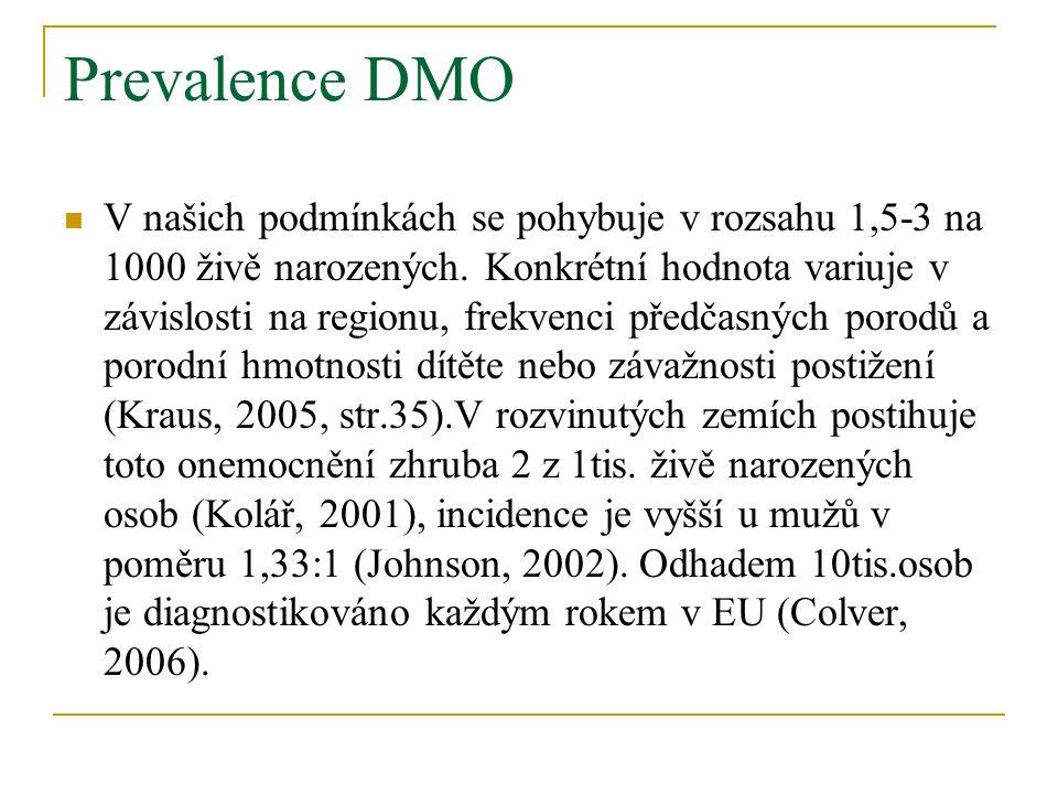 Prevalence DMO V našich podmínkách se pohybuje v rozsahu 1,5-3 na 1000 živě narozených.