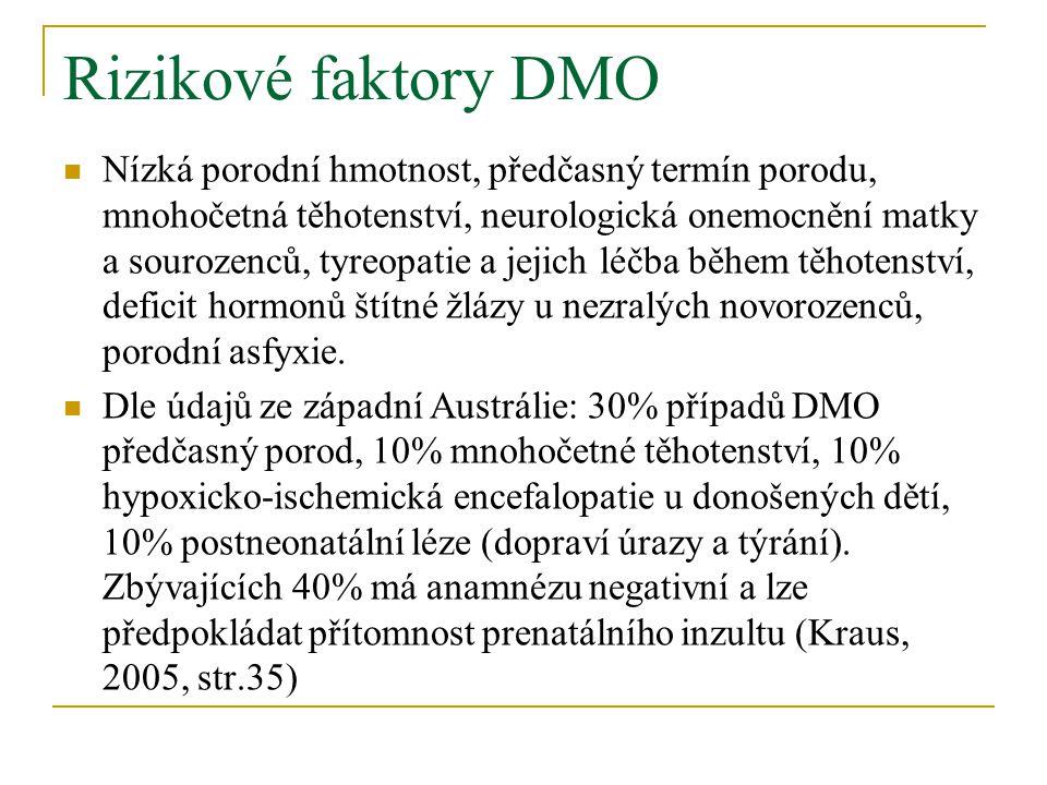 Rizikové faktory DMO Nízká porodní hmotnost, předčasný termín porodu, mnohočetná těhotenství, neurologická onemocnění matky a sourozenců, tyreopatie a jejich léčba během těhotenství, deficit hormonů štítné žlázy u nezralých novorozenců, porodní asfyxie.