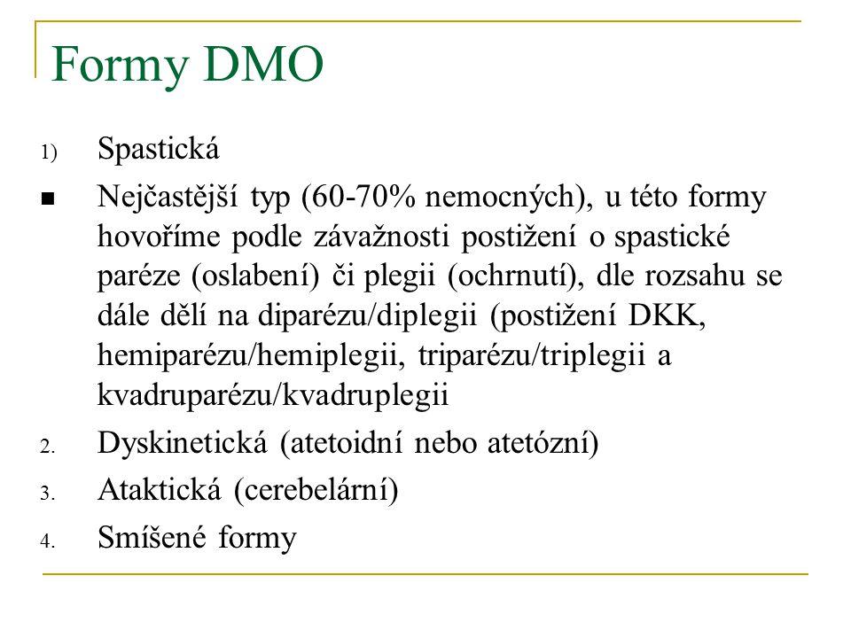 Formy DMO 1) Spastická Nejčastější typ (60-70% nemocných), u této formy hovoříme podle závažnosti postižení o spastické paréze (oslabení) či plegii (ochrnutí), dle rozsahu se dále dělí na diparézu/diplegii (postižení DKK, hemiparézu/hemiplegii, triparézu/triplegii a kvadruparézu/kvadruplegii 2.