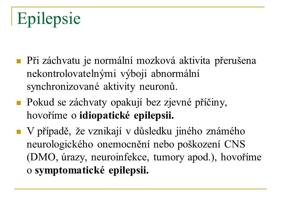Epilepsie Při záchvatu je normální mozková aktivita přerušena nekontrolovatelnými výboji abnormální synchronizované aktivity neuronů.