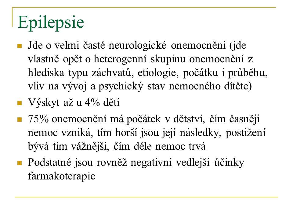Epilepsie Jde o velmi časté neurologické onemocnění (jde vlastně opět o heterogenní skupinu onemocnění z hlediska typu záchvatů, etiologie, počátku i průběhu, vliv na vývoj a psychický stav nemocného dítěte) Výskyt až u 4% dětí 75% onemocnění má počátek v dětství, čím časněji nemoc vzniká, tím horší jsou její následky, postižení bývá tím vážnější, čím déle nemoc trvá Podstatné jsou rovněž negativní vedlejší účinky farmakoterapie