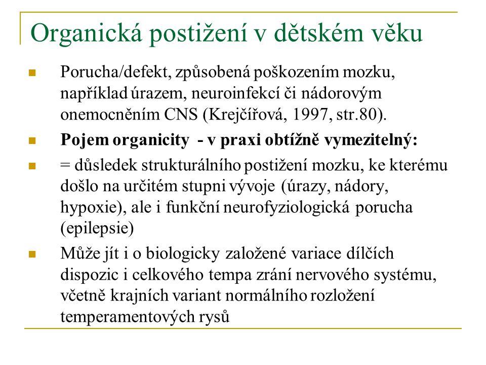 Hlavní typy organických postižení v dětském věku: 1) Dětská mozková obrna (DMO) 2) Epilepsie 3) Infekční onemocnění mozku (meningitidy, encefalitidy) 4) Úrazy hlavy 5) Nádorová onemocnění CNS Dále cévní příhody u dětí, děti nedonošené, stavy po intoxikacích.