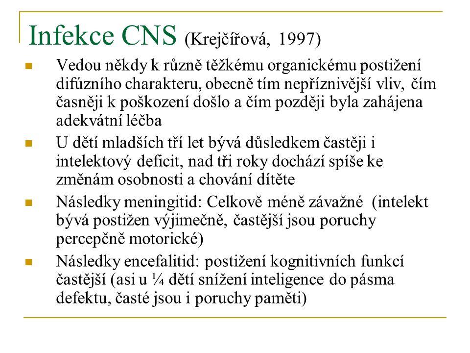 Infekce CNS (Krejčířová, 1997) Vedou někdy k různě těžkému organickému postižení difúzního charakteru, obecně tím nepříznivější vliv, čím časněji k poškození došlo a čím později byla zahájena adekvátní léčba U dětí mladších tří let bývá důsledkem častěji i intelektový deficit, nad tři roky dochází spíše ke změnám osobnosti a chování dítěte Následky meningitid: Celkově méně závažné (intelekt bývá postižen výjimečně, častější jsou poruchy percepčně motorické) Následky encefalitid: postižení kognitivních funkcí častější (asi u ¼ dětí snížení inteligence do pásma defektu, časté jsou i poruchy paměti)