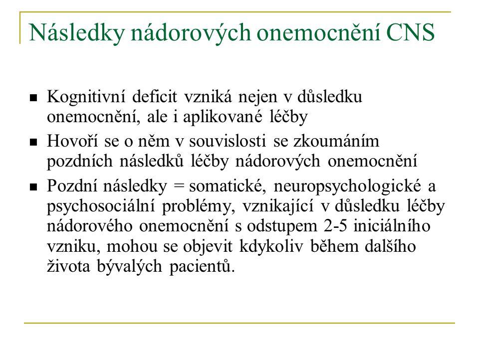Následky nádorových onemocnění CNS Kognitivní deficit vzniká nejen v důsledku onemocnění, ale i aplikované léčby Hovoří se o něm v souvislosti se zkoumáním pozdních následků léčby nádorových onemocnění Pozdní následky = somatické, neuropsychologické a psychosociální problémy, vznikající v důsledku léčby nádorového onemocnění s odstupem 2-5 iniciálního vzniku, mohou se objevit kdykoliv během dalšího života bývalých pacientů.
