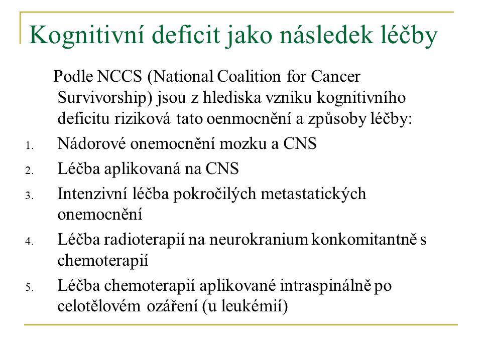 Kognitivní deficit jako následek léčby Podle NCCS (National Coalition for Cancer Survivorship) jsou z hlediska vzniku kognitivního deficitu riziková tato oenmocnění a způsoby léčby: 1.