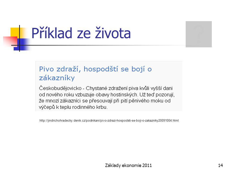 Základy ekonomie 201114 Příklad ze života http://jindrichohradecky.denik.cz/podnikani/pivo-zdrazi-hospodsti-se-boji-o-zakazniky20091004.html