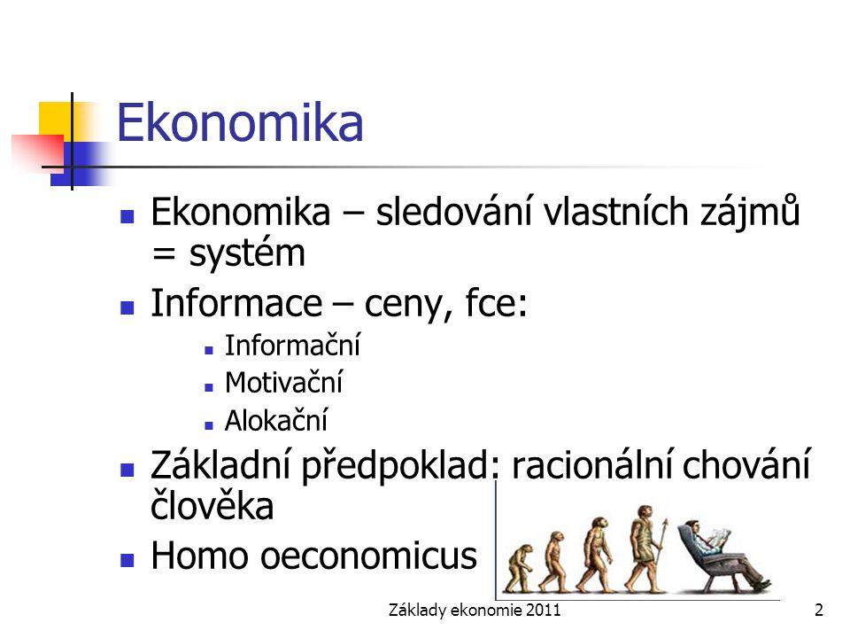 Základy ekonomie 20112 Ekonomika Ekonomika – sledování vlastních zájmů = systém Informace – ceny, fce: Informační Motivační Alokační Základní předpokl