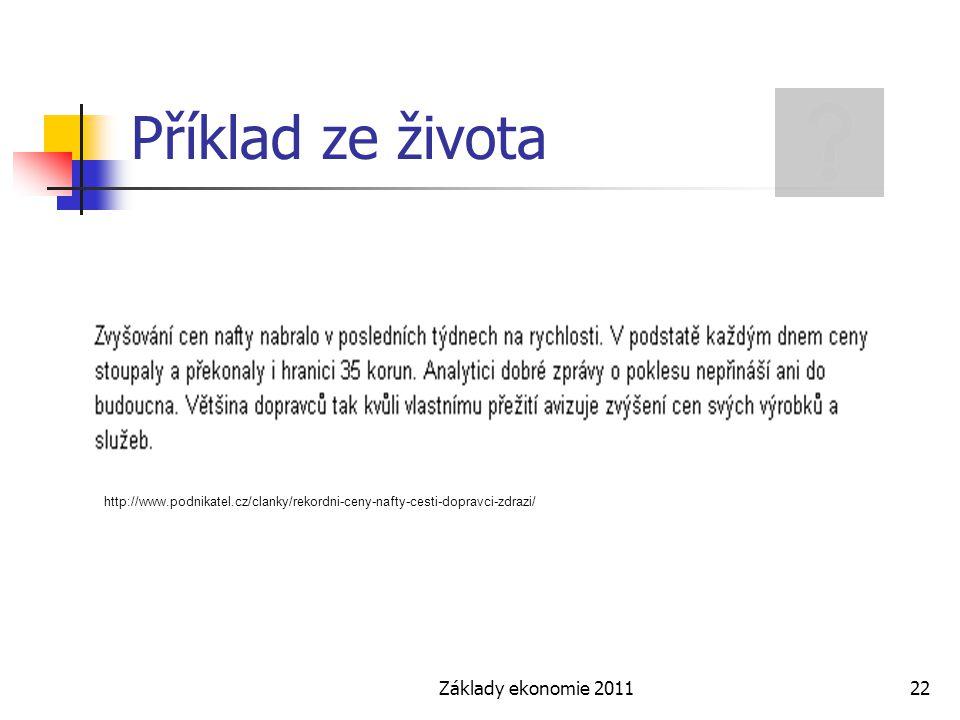 Základy ekonomie 201122 Příklad ze života http://www.podnikatel.cz/clanky/rekordni-ceny-nafty-cesti-dopravci-zdrazi/