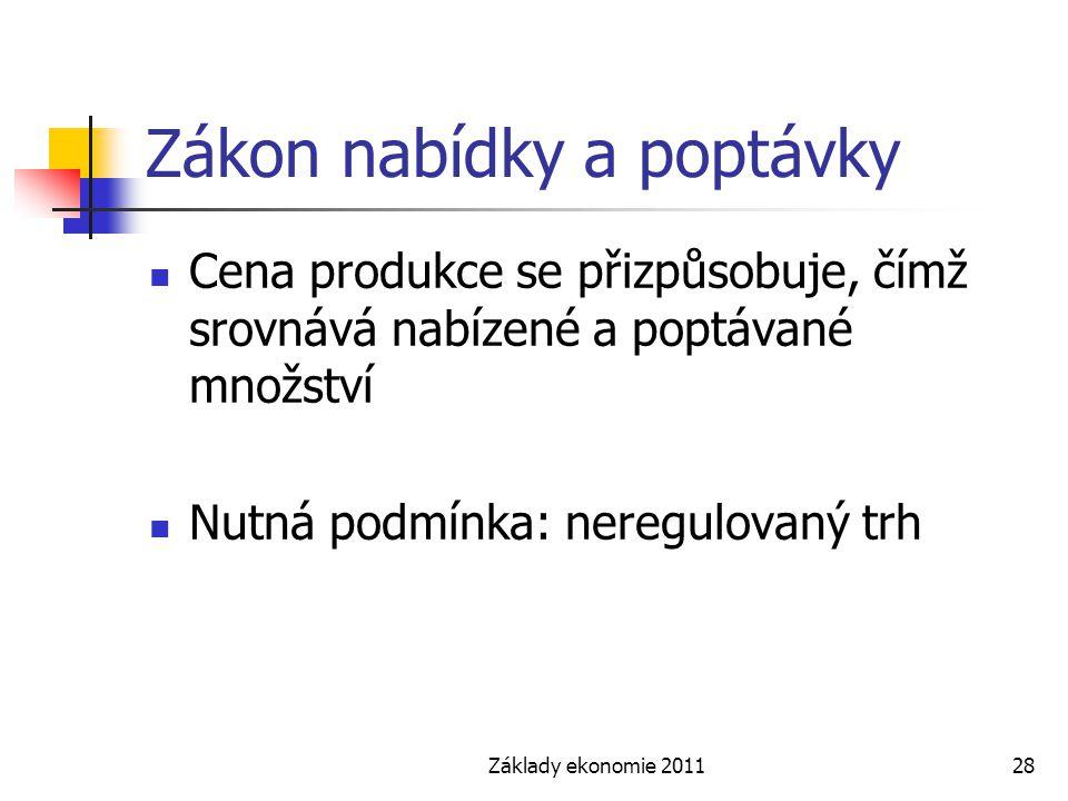 Základy ekonomie 201128 Zákon nabídky a poptávky Cena produkce se přizpůsobuje, čímž srovnává nabízené a poptávané množství Nutná podmínka: neregulova