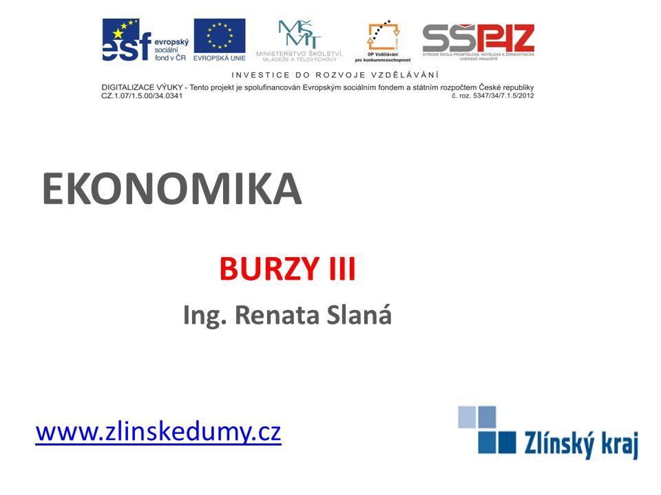 EKONOMIKA BURZY III Ing. Renata Slaná www.zlinskedumy.cz