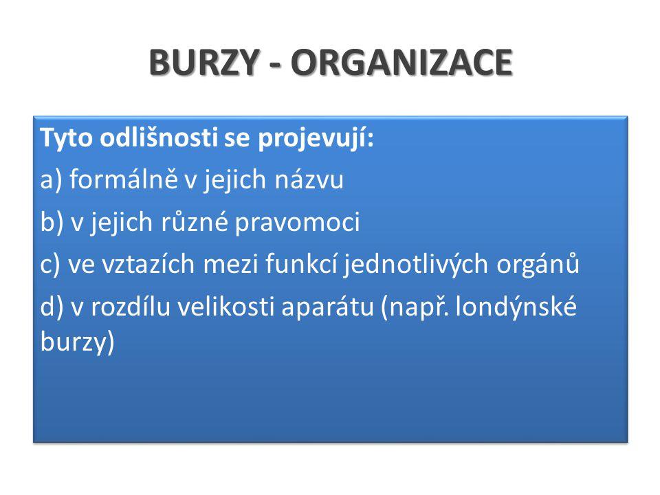 BURZY - ORGANIZACE Tyto odlišnosti se projevují: a) formálně v jejich názvu b) v jejich různé pravomoci c) ve vztazích mezi funkcí jednotlivých orgánů d) v rozdílu velikosti aparátu (např.